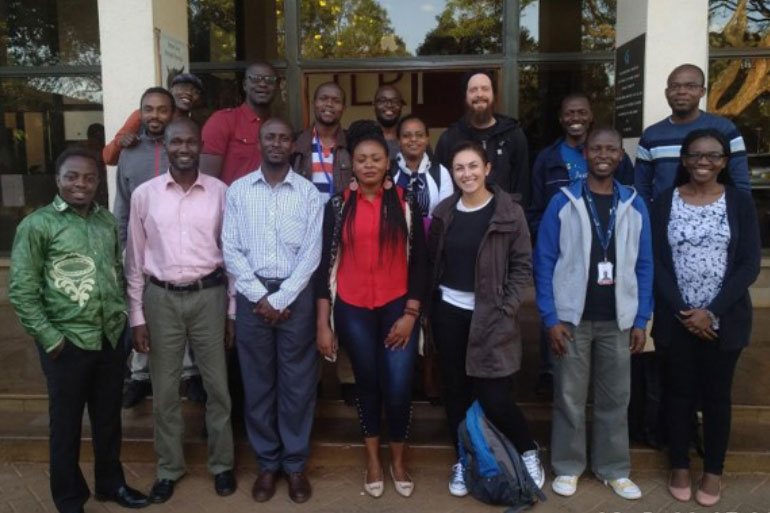 Alice Minotto (3rd right, front row) delivering bioinformatics training in Kenya