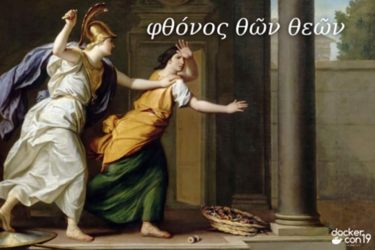 Athena, goddess of war, curses Arachne, the weaver, to punish her for bragging