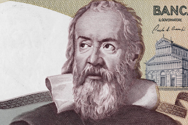 Galileo is considered the father of science and portrayed on the old Italian 2000 lira currency note