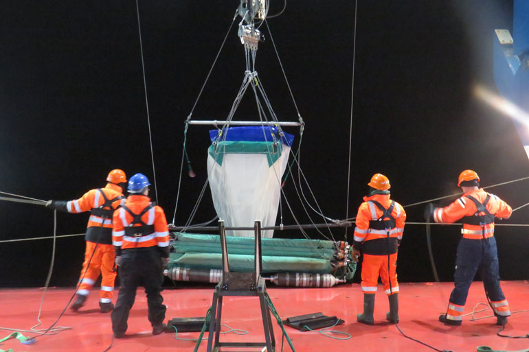 RMT-8 Net deployment for krill fishing on RRS Discovery