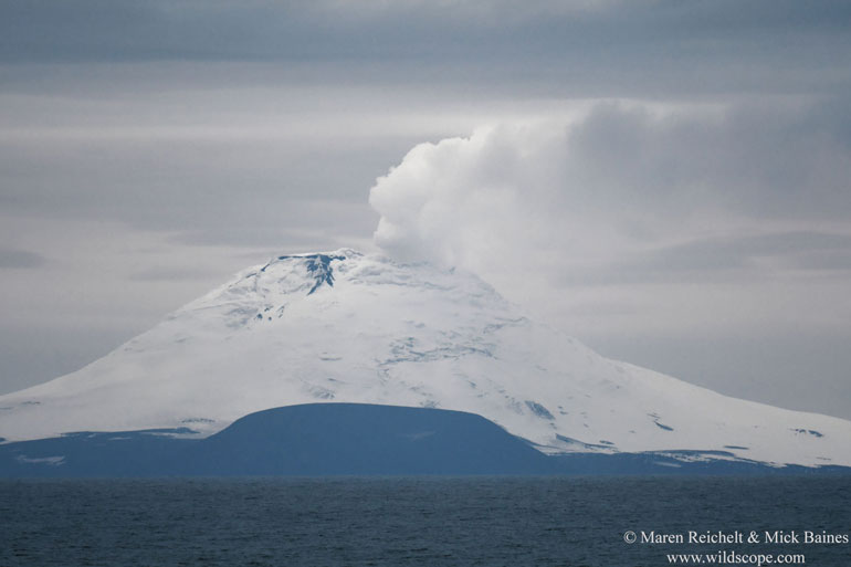Volcanic eruption on Saunders Island, part of the South Sandwich Islands