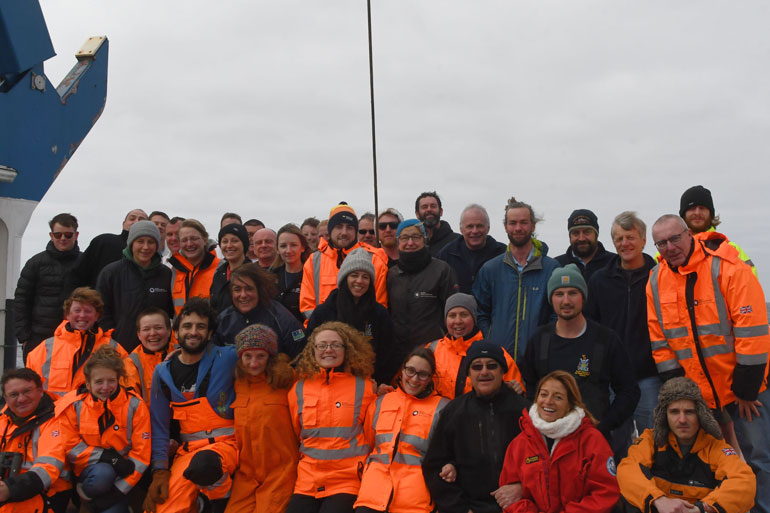 Emma Langan amongst the group of her research colleagues on the Antarctic survey cruise