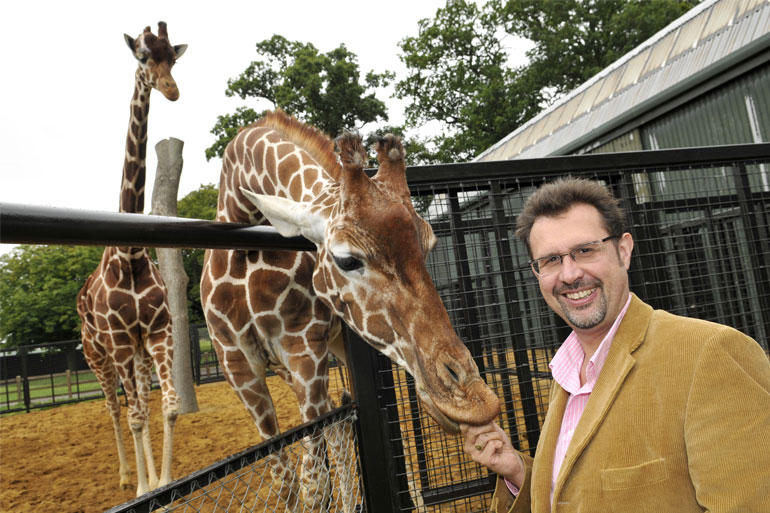 David Field from ZSEA with the giraffes