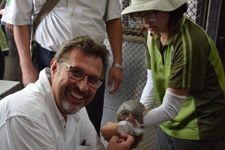 David Field from ZSEA meets a pangolin