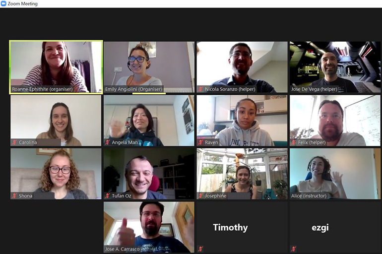 Image: Is this the future of science events? A screenshot of participants at a recent EI science training course.