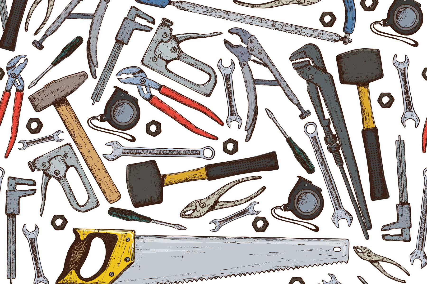 Illustration of a variety of household tools