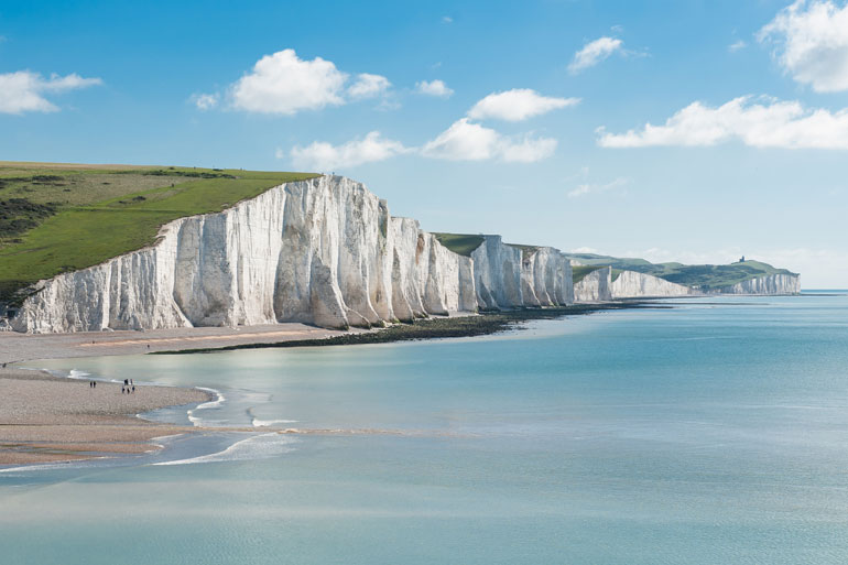 The White cliffs of Dover, Kent, UK are formed from layers of limestone chalk