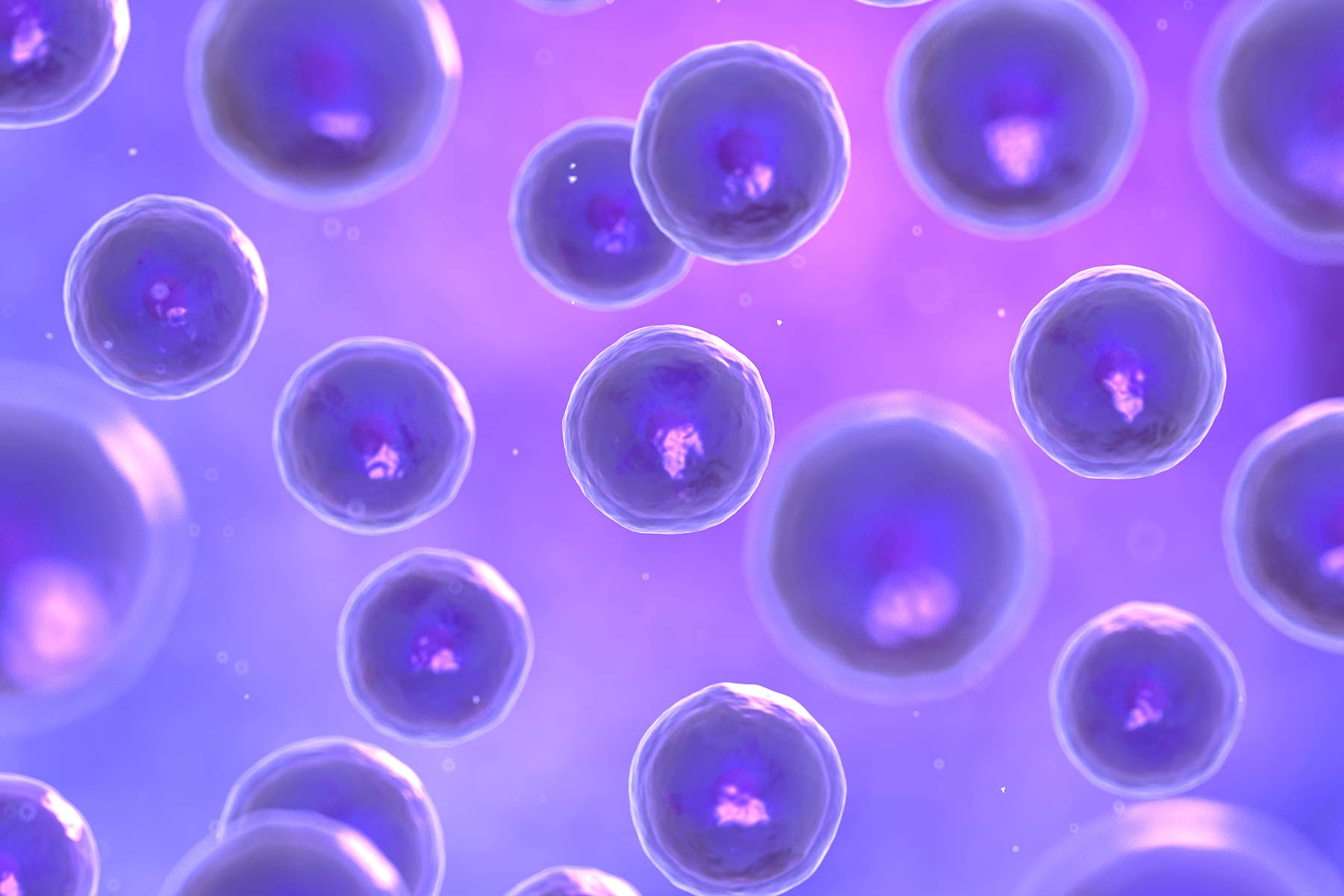 Cells floating in purple abstract background
