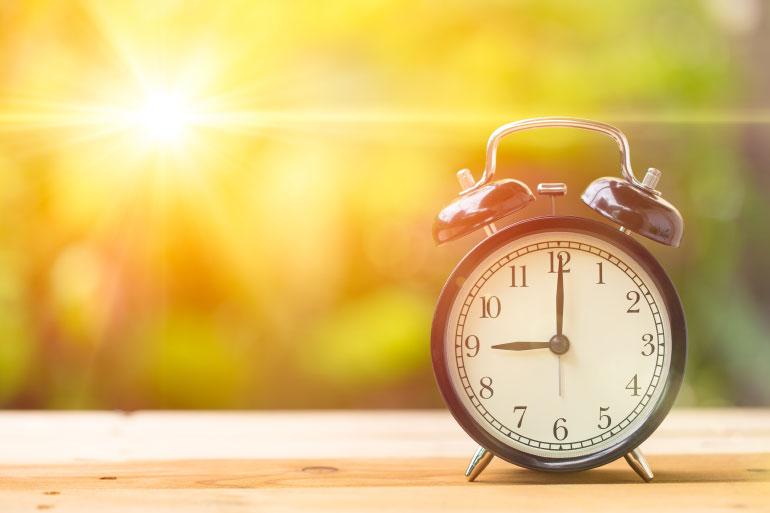 Tick tock alarm clock summertime circadian rhythms