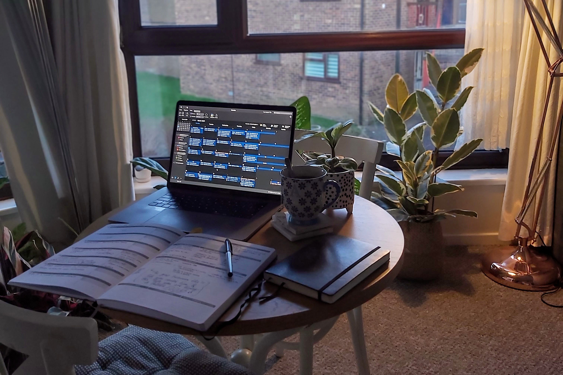 Anita's desk at home surrounded by houseplants in front of her window, with her laptop, an open planner and cup of coffee.