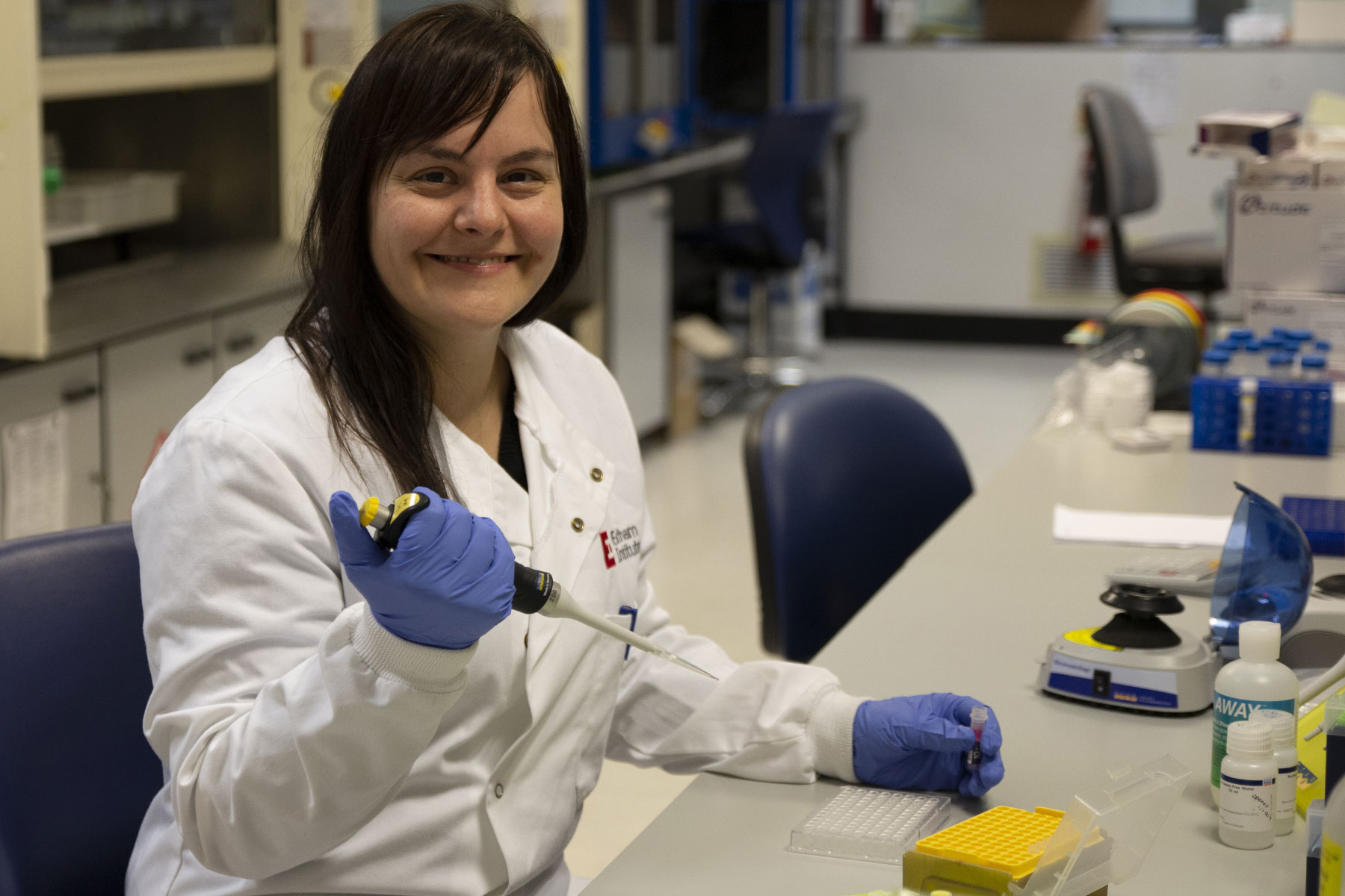 Image: Dr Laura Mincarelli pictured in the single cell labs at EI