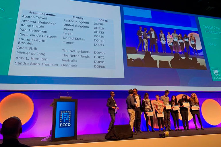 Agatha's talk at ECCO 2019 won an award as one of the top ten talks at the conference