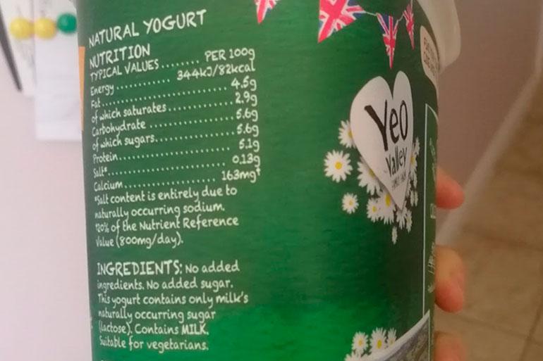 Natural yoghurt contains probiotic bacteria