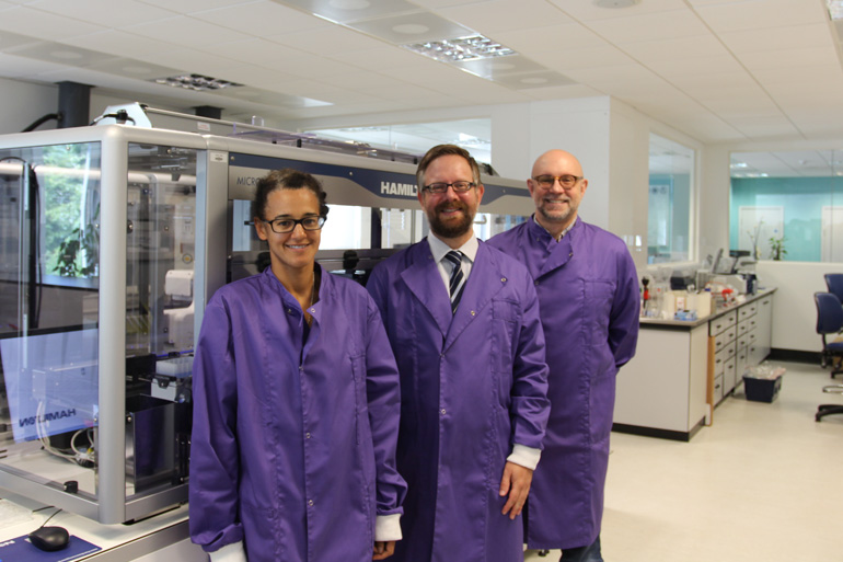 Dr Nicola Patron, Dr Dan Swan and Dr Anthony West in the lab