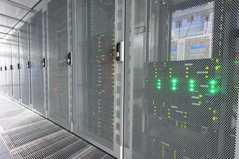A rack of high performance computing servers
