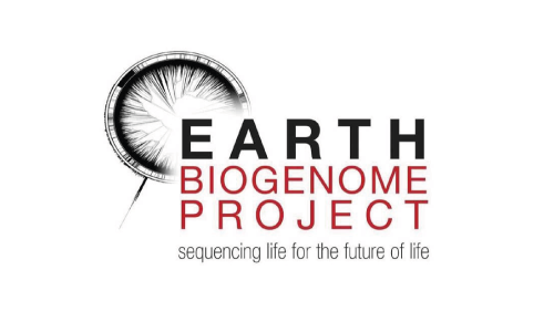 Logo for Earth Biogenome Project with the tagline of sequencing life for the future of life, in a mixture of black red and grey