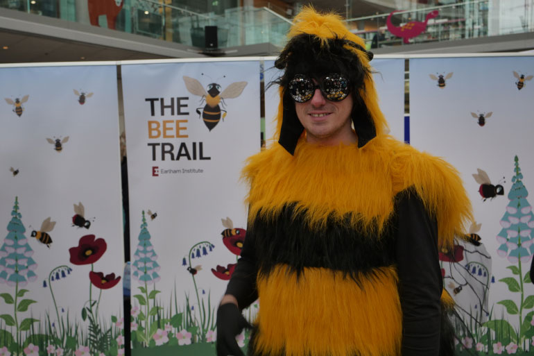 Mascot Barney Bee at the launch of the EI Bee Trail at the Norwich Science Festival 2019