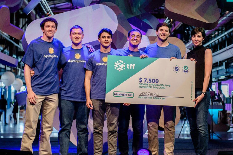 Agrospheres split one of their two prizes at TFF 2017 with 2 other teams, showing their commitment to a food secure future